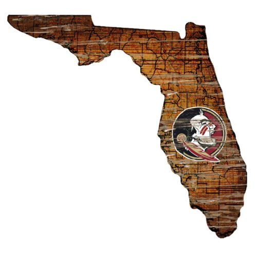 Florida State Seminoles Distressed 24 x 24 State Wall Art