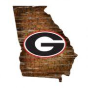 """Georgia Bulldogs Distressed 24"""" x 24"""" State Wall Art"""