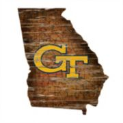 "Georgia Tech Yellow Jackets Distressed 24"" x 24"" State Wall Art"