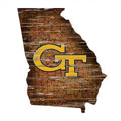 Georgia Tech Yellow Jackets Distressed 24' x 24' State Wall Art