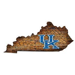 "Kentucky Wildcats Distressed 24"" x 24"" State Wall Art"