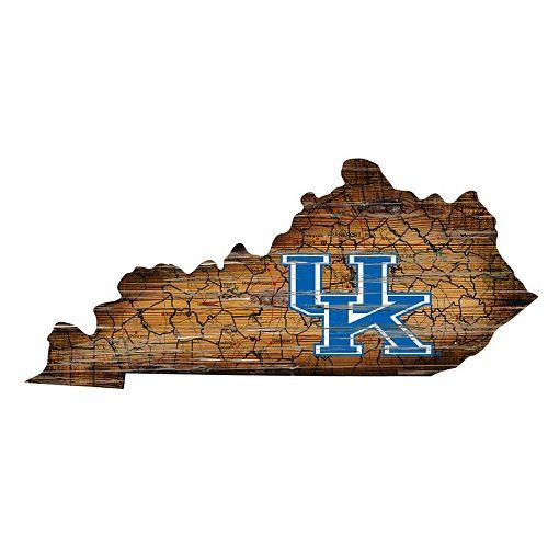 Kentucky Wildcats Distressed 24 x 24 State Wall Art