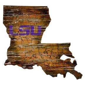 """LSU Tigers Distressed 24"""" x 24"""" State Wall Art"""