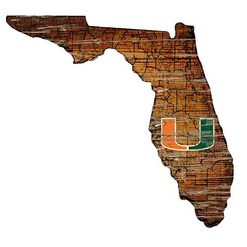 "Miami Hurricanes Distressed 24"" x 24"" State Wall Art"