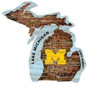 Michigan Wolverines Distressed 24' x 24' State Wall Art