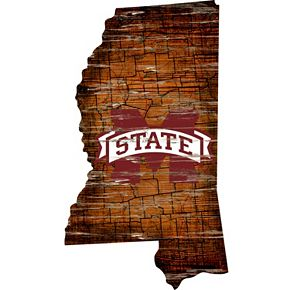 "Mississippi State Bulldogs Distressed 24"" x 24"" State Wall Art"