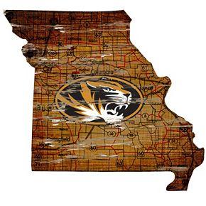 """Missouri Tigers Distressed 24"""" x 24"""" State Wall Art"""