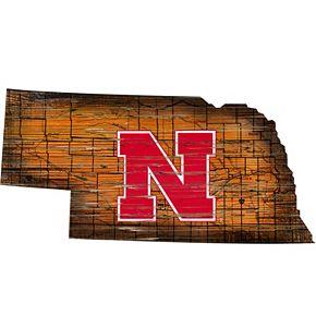 """Nebraska Cornhuskers Distressed 24"""" x 24"""" State Wall Art"""