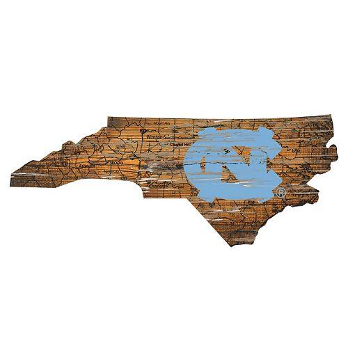 """North Carolina Tar Heels Distressed 24"""" x 24"""" State Wall Art"""