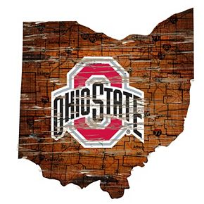 """Ohio State Buckeyes Distressed 24"""" x 24"""" State Wall Art"""