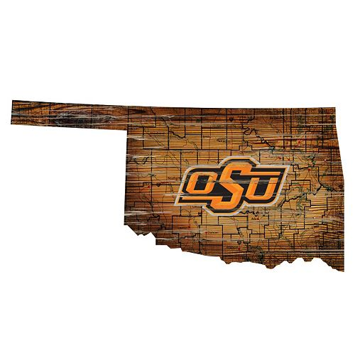 """Oklahoma State Cowboys Distressed 24"""" x 24"""" State Wall Art"""