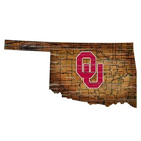 "Oklahoma Sooners Distressed 24"" x 24"" State Wall Art"