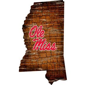 "Ole Miss Rebels Distressed 24"" x 24"" State Wall Art"