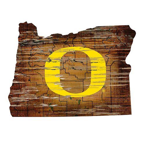 """Oregon Ducks Distressed 24"""" x 24"""" State Wall Art"""
