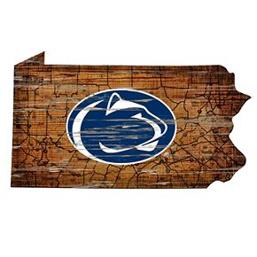 """Penn State Nittany Lions Distressed 24"""" x 24"""" State Wall Art"""