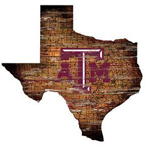 "Texas A&M Aggies Distressed 24"" x 24"" State Wall Art"