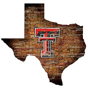 """Texas Tech Red Raiders Distressed 24"""" x 24"""" State Wall Art"""