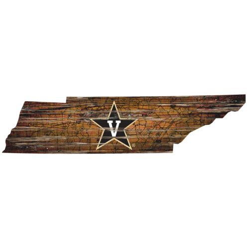 Vanderbilt Commodores Distressed 24″ x 24″ State Wall Art