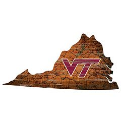 Virginia Tech Hokies Distressed 24' x 24' State Wall Art
