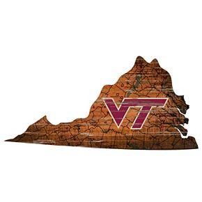 "Virginia Tech Hokies Distressed 24"" x 24"" State Wall Art"