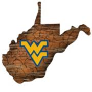 """West Virginia Mountaineers Distressed 24"""" x 24"""" State Wall Art"""