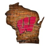 "Wisconsin Badgers Distressed 24"" x 24"" State Wall Art"