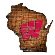 Wisconsin Badgers Distressed 24' x 24' State Wall Art