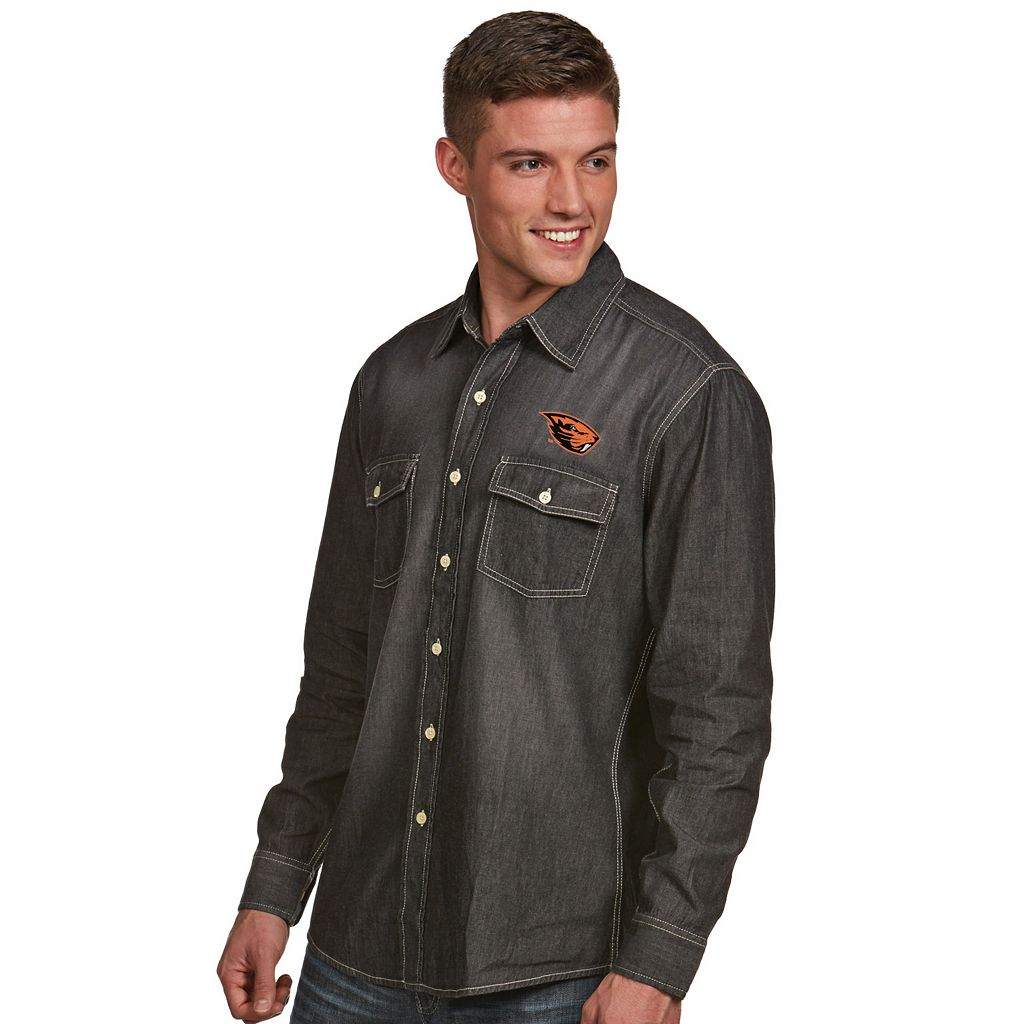Men's Antigua Oregon State Beavers Chambray Shirt