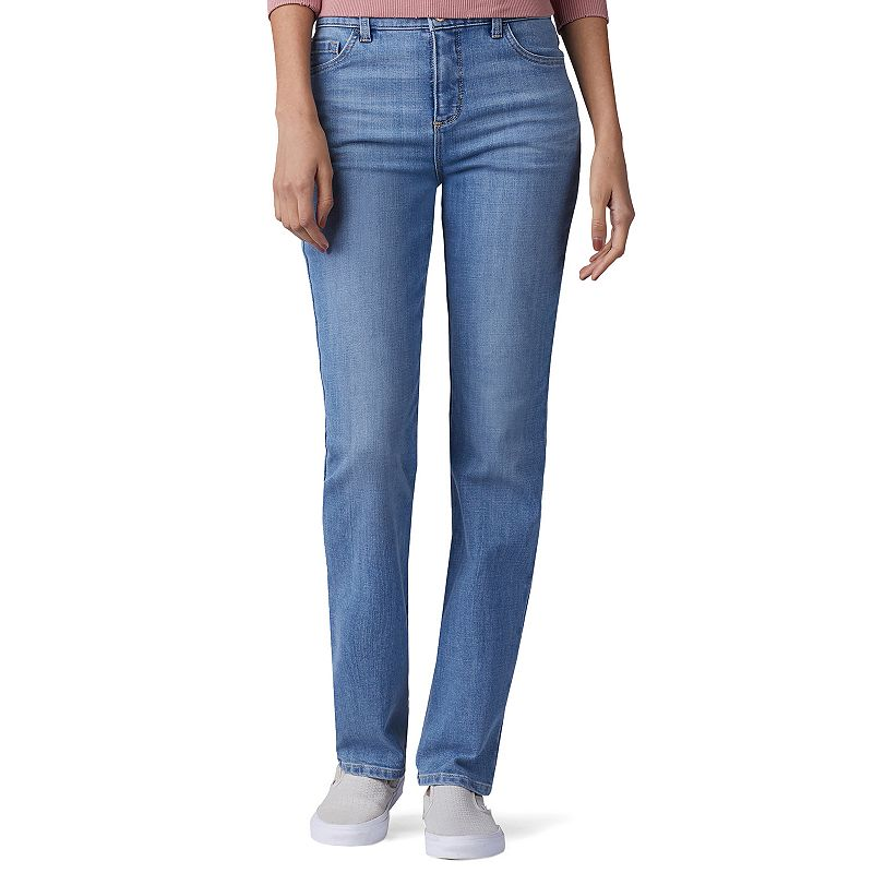 Women's Lee Instantly Slims High Waisted Straight-Leg Jeans, Size: 4 - regular, Dark Blue