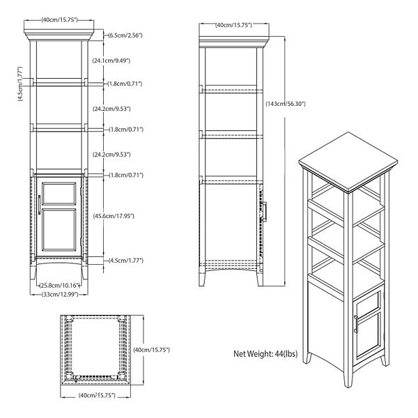 Simpli Home Avington Bath Storage Tower Cabinet