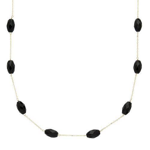 14k Gold Onyx Station Necklace