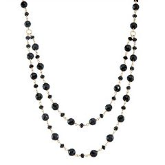 14k Gold Onyx & Black Spinel Swag Necklace