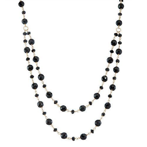 14k Gold Onyx & Black Spinel Swag Necklace