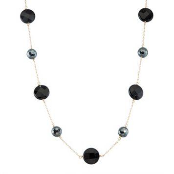14k Gold Onyx & Hematite Station Necklace