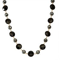 14k Gold Onyx & Hematite Necklace
