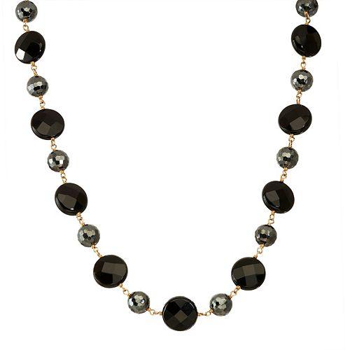 14k Gold Onyx & Hematite Necklace