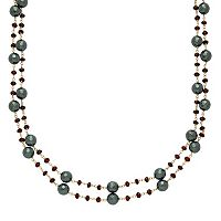 14k Gold Hematite & Garnet Multistrand Necklace