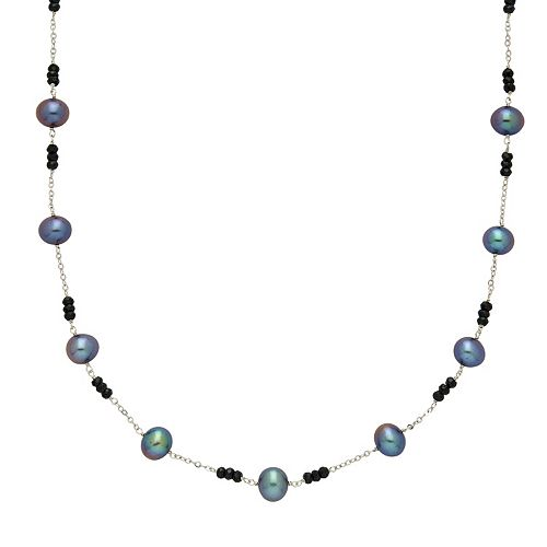 14k White Gold Black Spinel & Dyed Freshwater Cultured Pearl Necklace