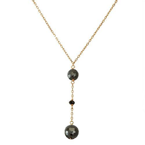 b010d96c4329e7 14k Gold Hematite & Black Spinel Y Necklace