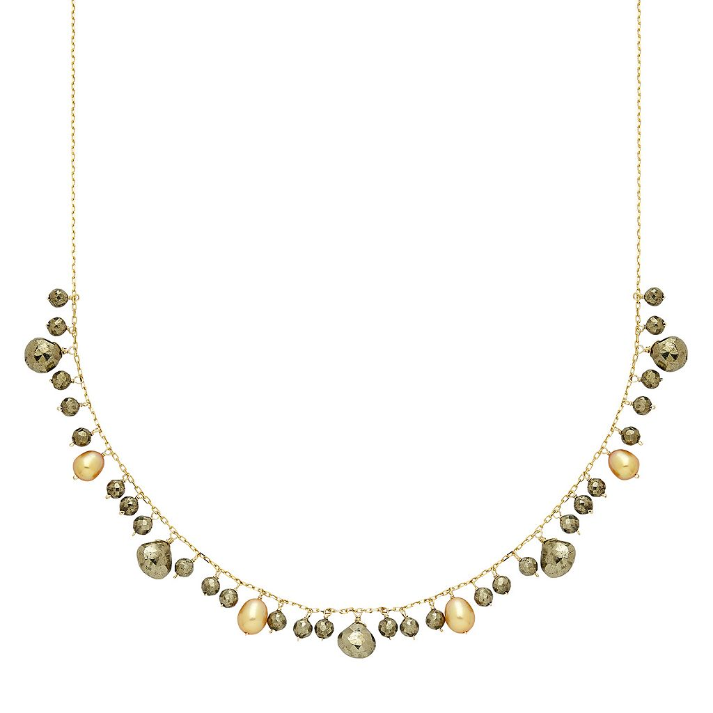 14k Gold Pyrite & Dyed Freshwater Cultured Pearl Necklace