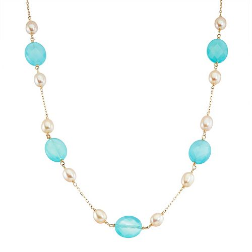 14k Gold Chalcedony & Dyed Freshwater Cultured Pearl Necklace