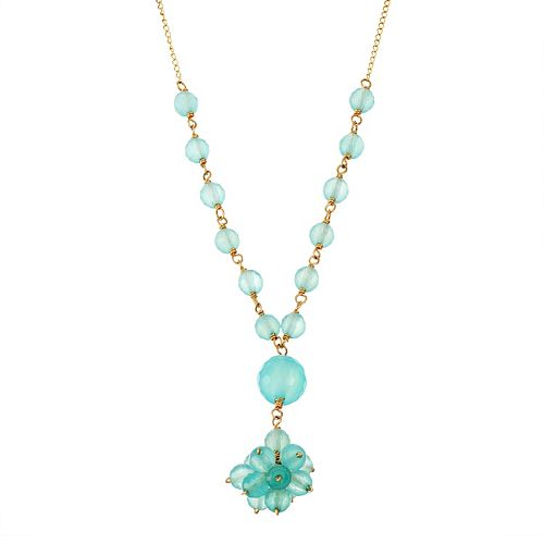 14k Gold Chalcedony Cluster Y Necklace
