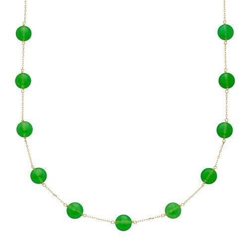 14k Gold Jade Station Necklace