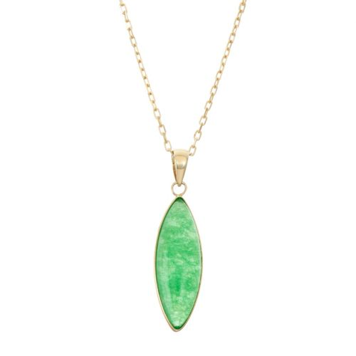 14k Gold Jade Marquise Pendant Necklace