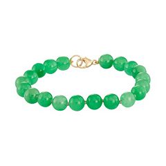 14k Gold Chinese Jade Bracelet by