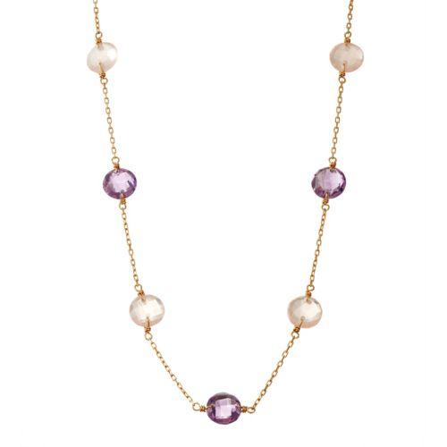 14k Gold Rose Quartz & Amethyst Station Necklace