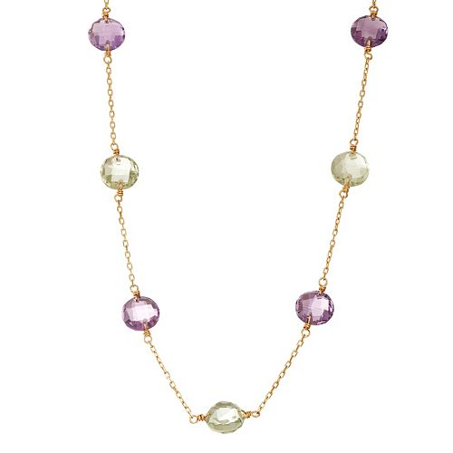 14k Gold Amethyst & Green Quartz Station Necklace