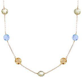 14k Gold Citrine, Sky Blue Topaz & Green Quartz Station Necklace