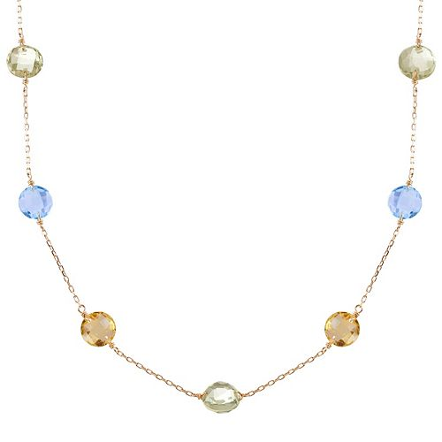 14k Gold Citrine, Sky Blue Topaz & Green Quartz Station Necklace