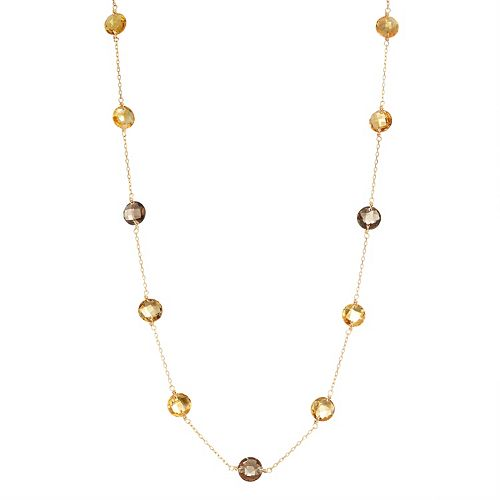 14k Gold Smoky Quartz, Citrine & Quartz Station Necklace